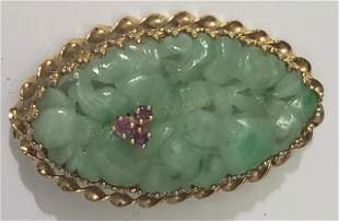 Jade & 14K Gold Pin With Ruby Accents