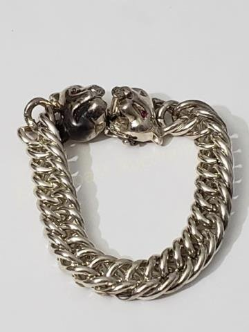 Large Heavy Sterling Silver Bracelet Panther Heads