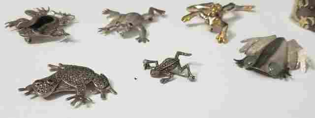 Group of 6 Frog Sterling Silver Figural Pins