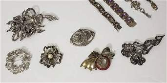 Group of Six Marcasite Pins