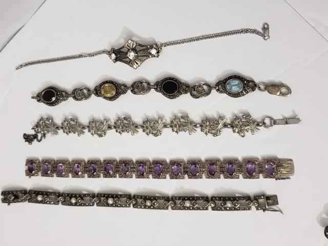 5 Silver & Marcasite Bracelets