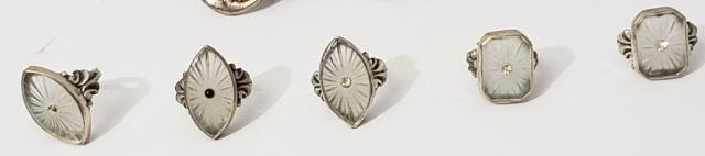 Group of 5 Sterling Ring W/ Carved Crystal Centers