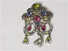 Fabulous Hobe Multi Colored Rhinestone Pin Pendant