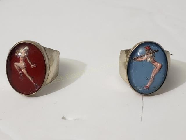 Two Reverse Painted Pinup Rings Baseball Football
