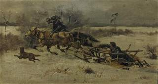 J. Wolski Oil On Canvas Painting Sled With Horses