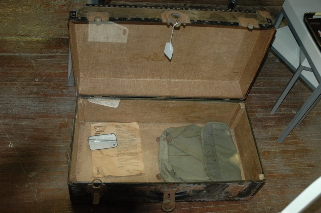 Military trunk with authentic bag & signal mirror