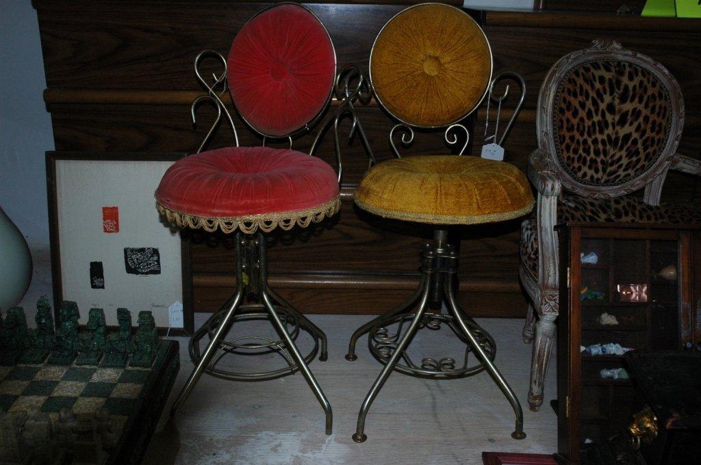 Two Vintage Vanity Delta turn top Chairs