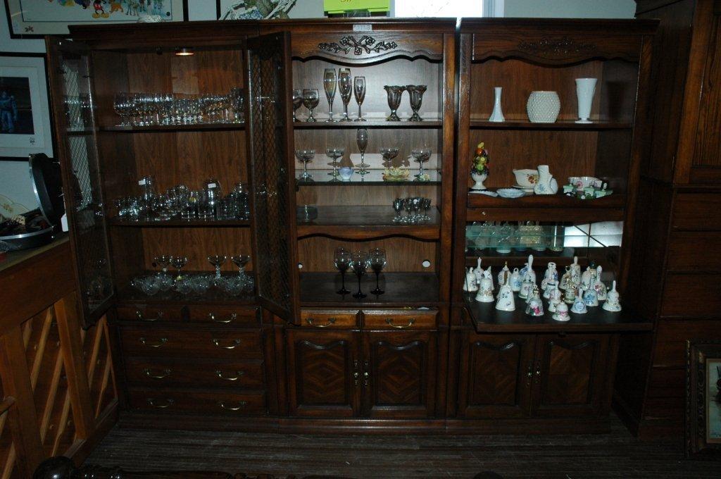 Vintage Three piece wood wall unit set
