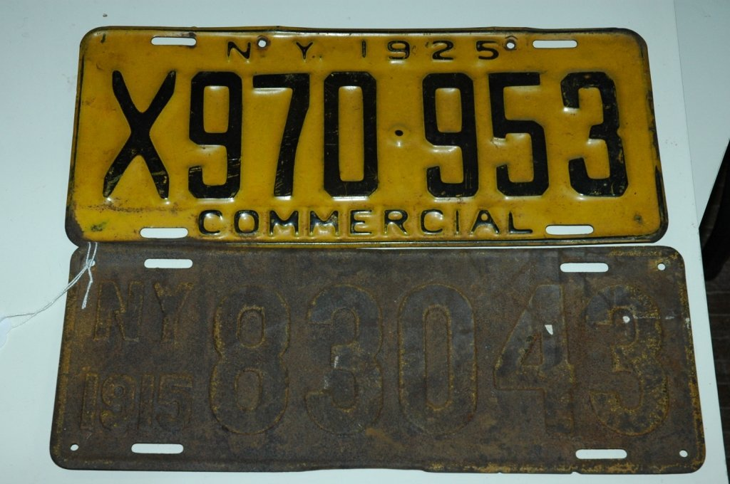 1915 NY Resident & 1925 Commercial License Plates