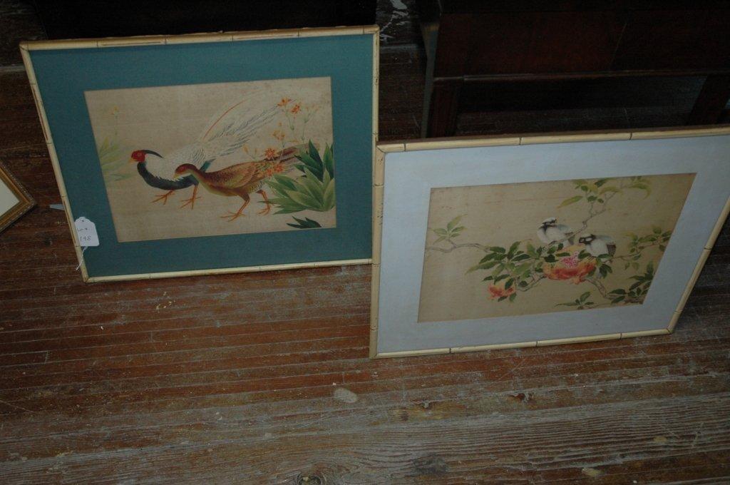 2 Vintage  Asian silk Paintings