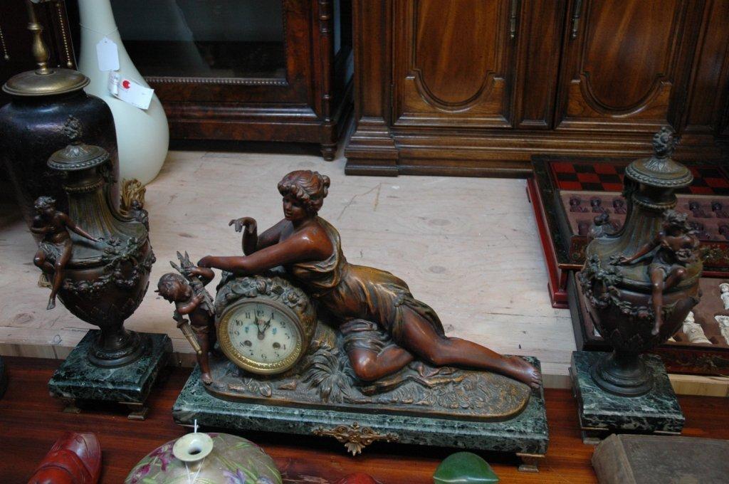 3 piece bronze and marble garniture set