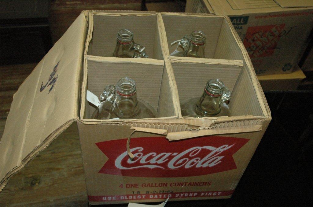 4 - 1 gallon Glass Coca Cola fountain syrup - 2