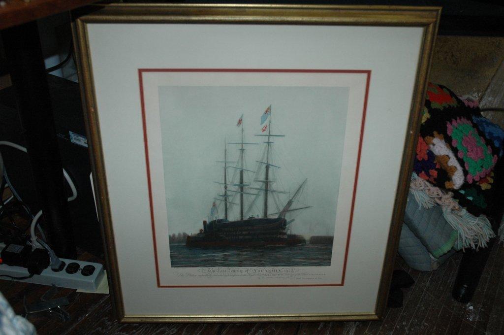 LAST JOURNEY OF HMS VICTORY 1922 W L WYLLIE FRAMED - 3