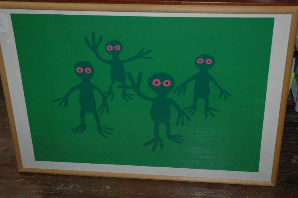 Green Aliens Print Signed