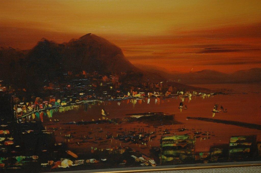 Y W Lau Chinese Harbor Scene - 2