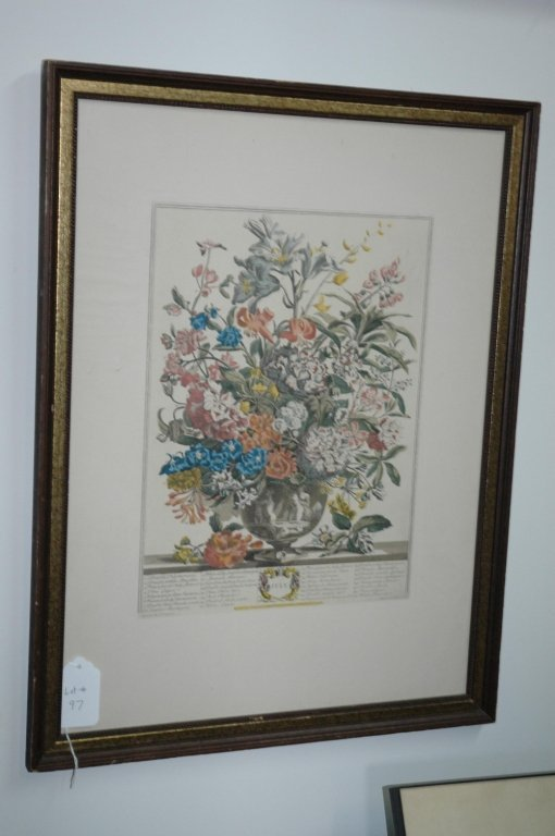 "Hand colored Floral Lithograph ""July"""