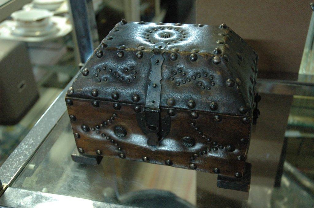 Vintage beaded leather box