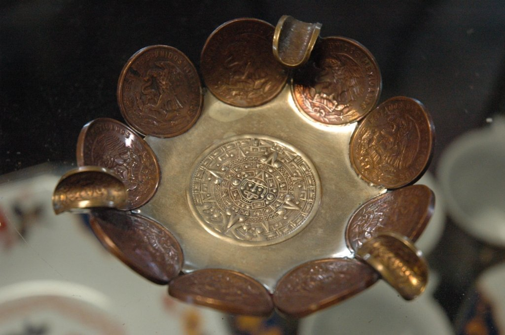 Mexican silver ashtray, with foreign coin design