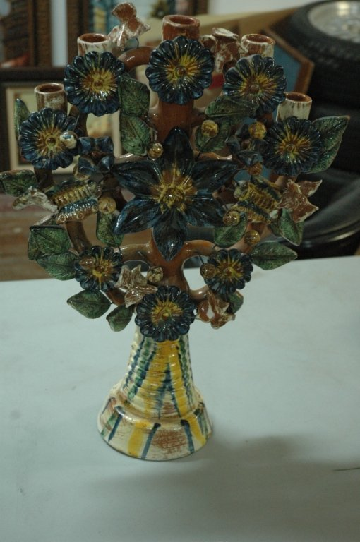 Large hand painted decorative candle holder