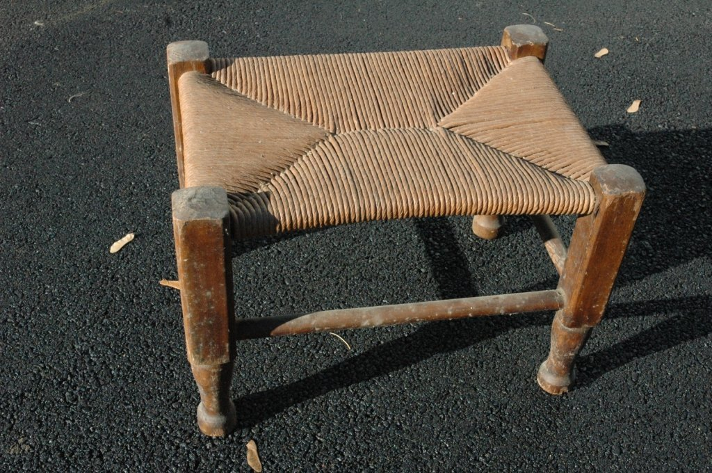 Antique rushed foot stool