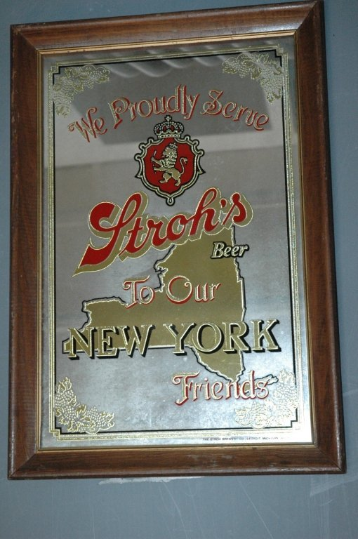 The #Stroh Brewing Co. mirror advertisement