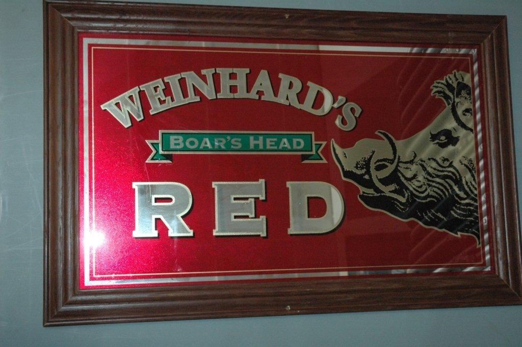 #Weinhard's Red #Boar's Head mirror advertisement