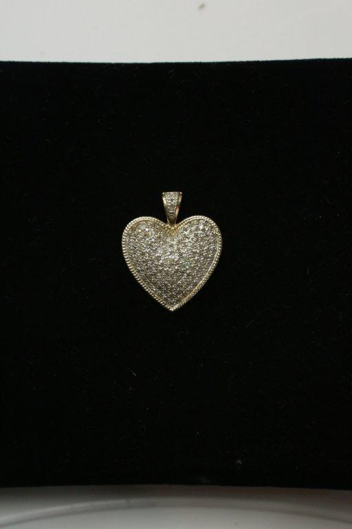 A 10K Gold & Diamond Pave heart