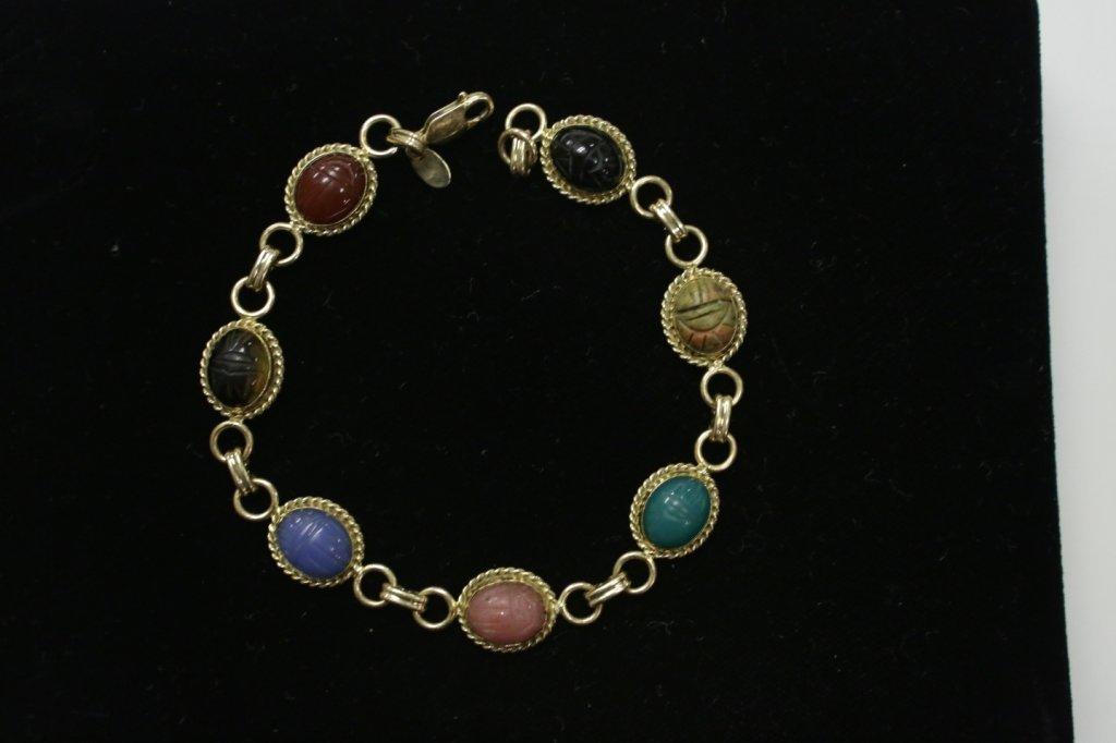 """A 14K Yellow Gold Scarab Bracelet """"Carla"""" - 3"""