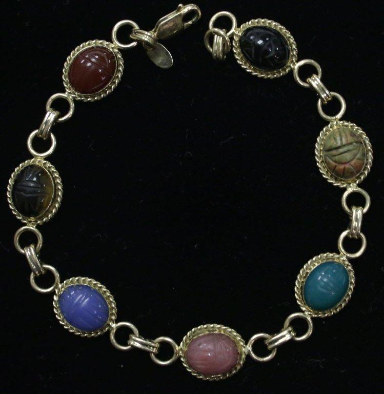 """A 14K Yellow Gold Scarab Bracelet """"Carla"""" - 4"""