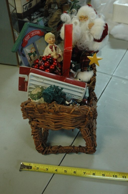 Christmas Sleigh Basket filled with decorations