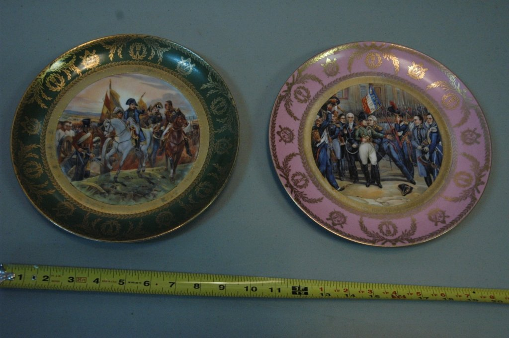 Two Antique French Plates with Napoleonic Scenes
