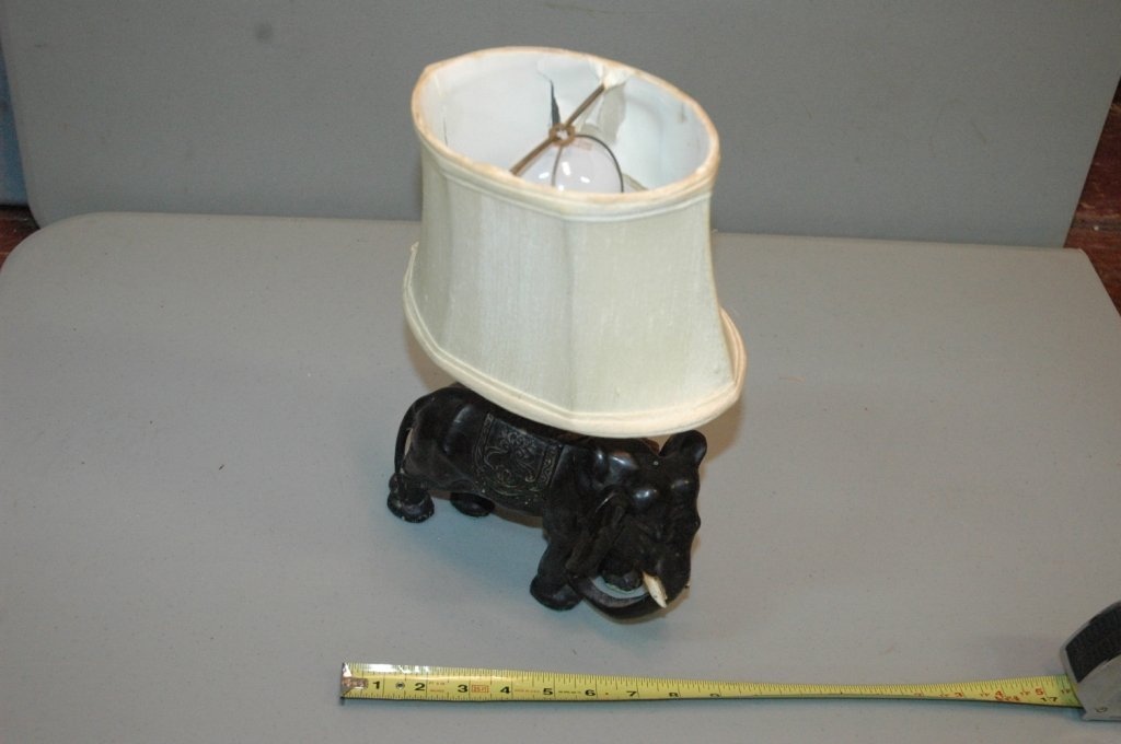 RARE small metal Elephant lamp