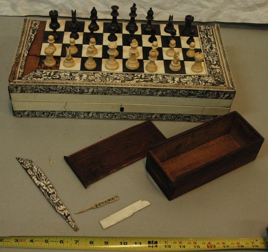 Ebony & Bone Chess Set together with...