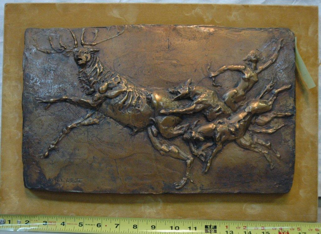 Brutalist Bronze plaque Diana the Huntress & Stag