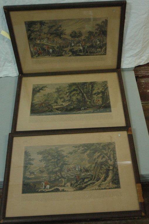 A Group of 3 Antique German Hunt scene prints