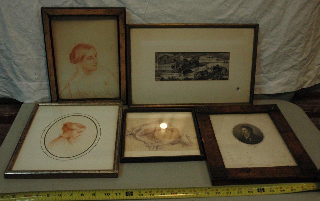 19th C. Art lot, prints, drawings.