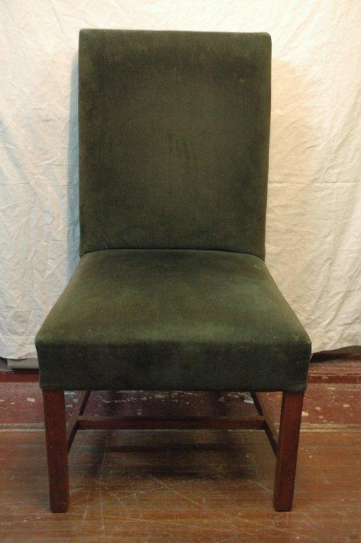 Vintage Green velvet upholstered side chair.