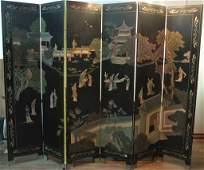 Vintage Black Lacquer Asian 4 Panel room divider