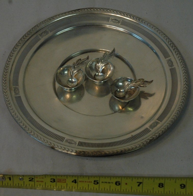 Sterling Silver dish & mini salt & pepper servers