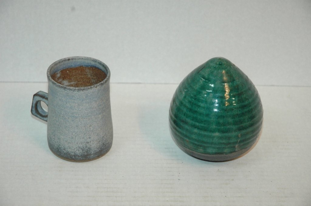 Pottery Rattle , Jar ( no top ), and Cup