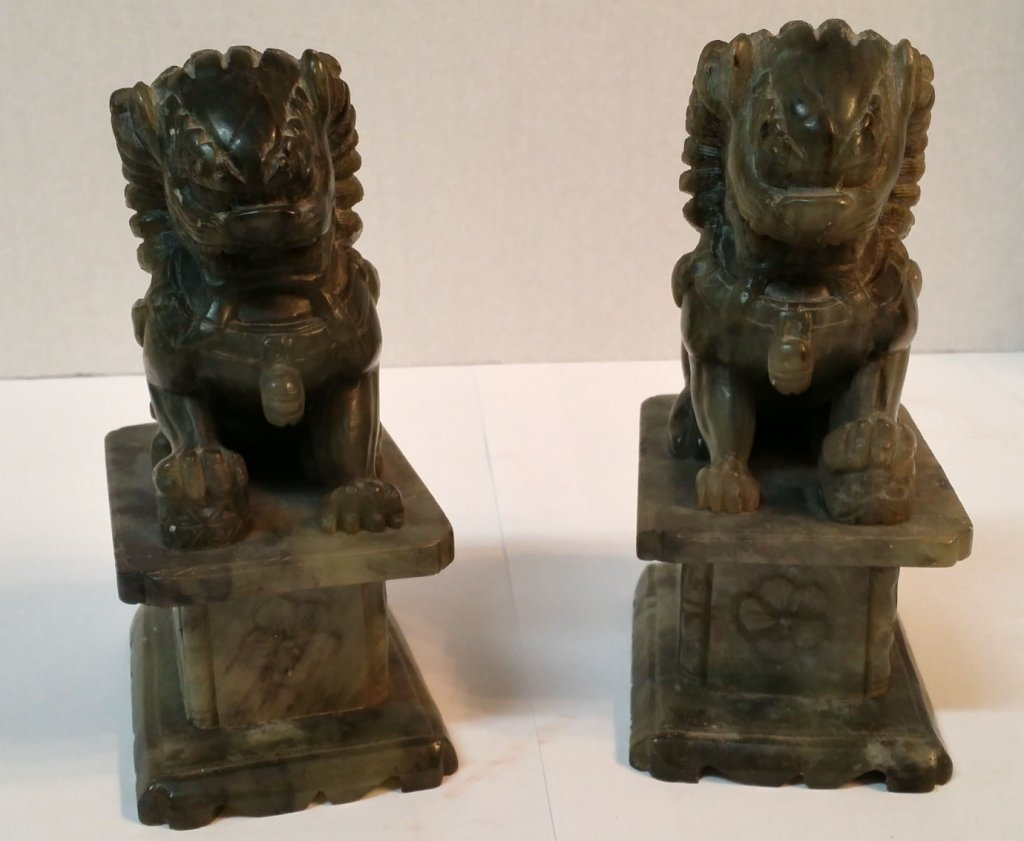 Chinese Carved Jade Fu Dog Statues / Book Ends