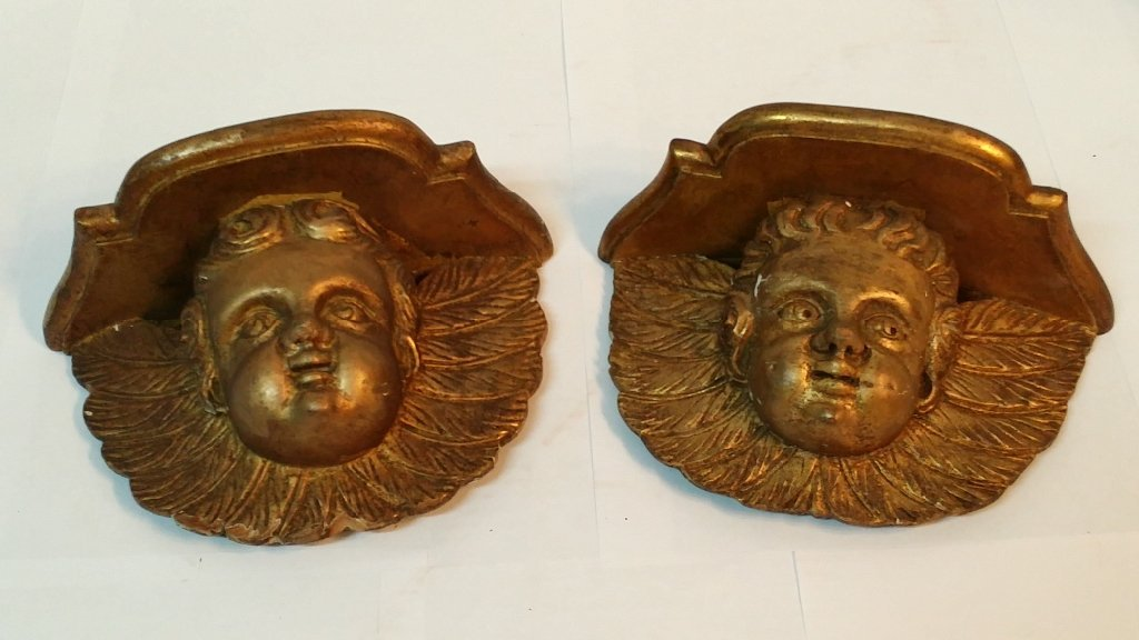 French Gilded Wall Accent Cherub Shelves