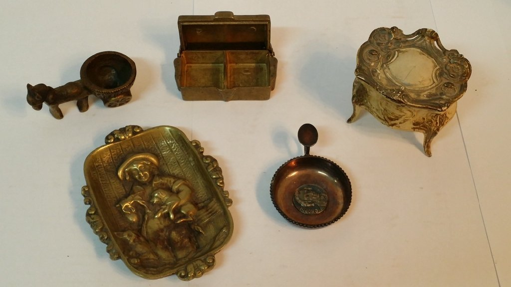 Metal Trinket trays, box, and holders
