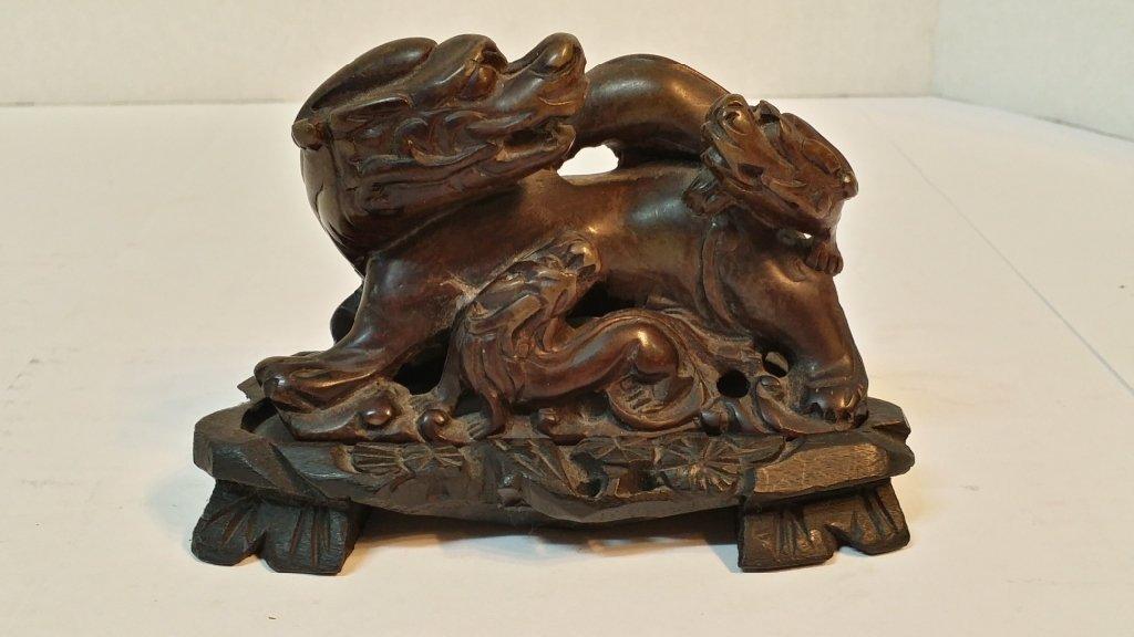 Chinese hard stone statue Fu Dog Staute