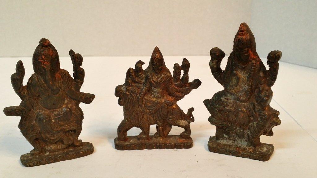 3 Miniature Brass Asian statues