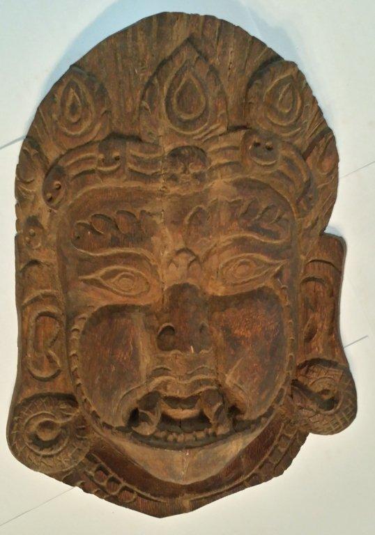 "19th Century Wood Carved Nepalese "" Kumari "" Mask"