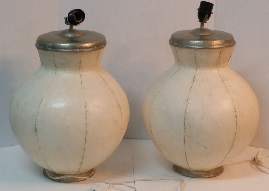 pair mid century pottery lamps