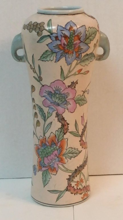 """Tall Chinese handled vase 16"""" tall"""