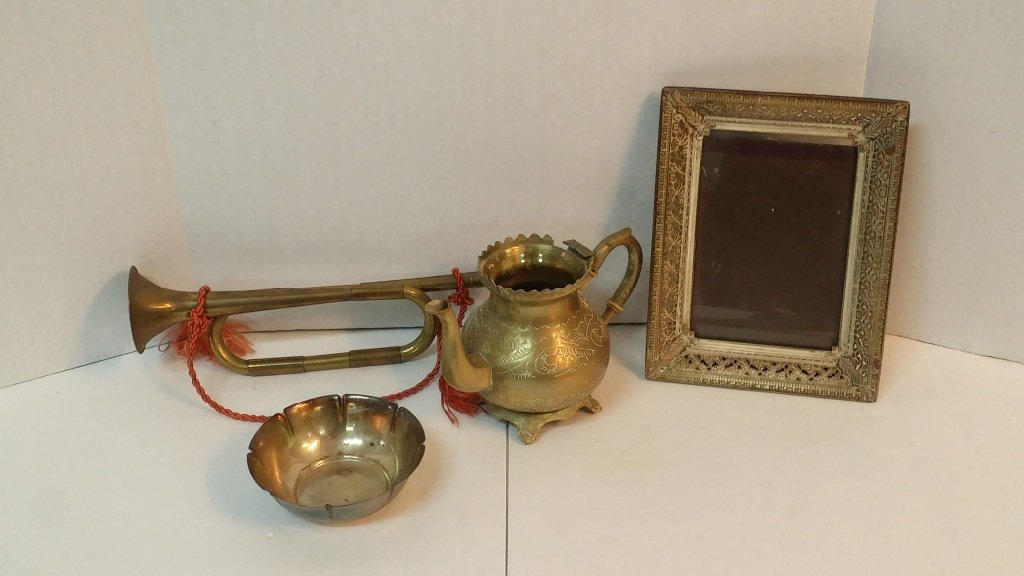 Brass and silver plate lot