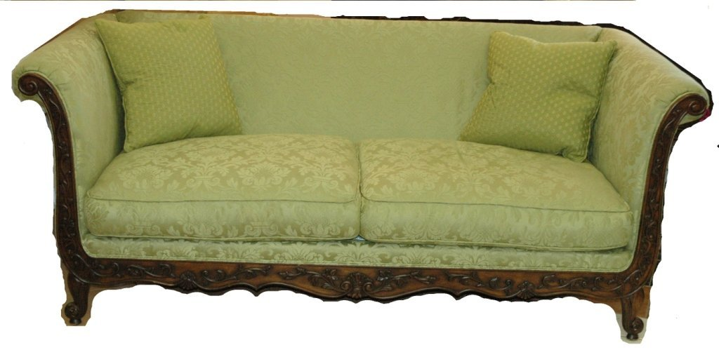 Large vintage victorian deep seated sofa